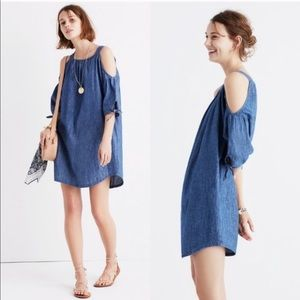 NWT Madewell Chambray Cold Shoulder Dress sz small